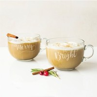 Cathy's Concepts Merry & Bright Set of 2 Glass Mugs | Nordstrom