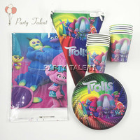 26pcs for 12 kids Trolls Tableware Set, 12plate+12cup+1 tablecover+1banner