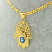 Hamsa Hand/Evil Eye Pendant Necklaces Arabic Turkish Jewelry Gold Plated 18k Hamesh Hand,Hand of Fatima Women Men,Bless & pray