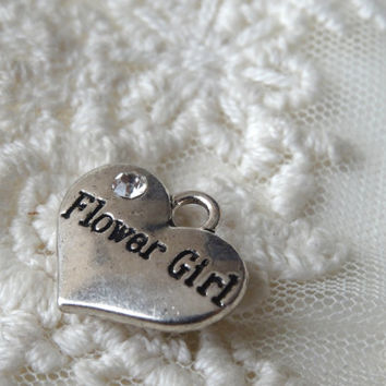 2- Flower Girl Heart Pendant Wedding Day Flower Girl Trinket Silver Heart Double Sided 3D BuyDiy Jewelry Making Supplies