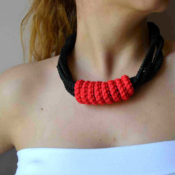 Red and Black Crocheted Ottoman Necklace - Ready To Order
