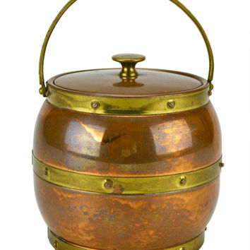 Cocktail Ice Bucket in Copper and Brass Vintage English