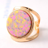 Pink Boho Faceted Stone Ring
