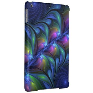 Colorful Luminous Abstract Blue Pink Green Fractal iPad Air Cases