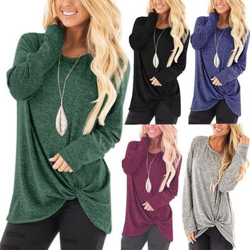 STYLEDOME Women Loose Long Sleeve Soid Sweatshirt Tops