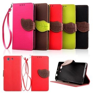 For Sony Xperia Z2 Z3 Z3 Mini Luxury Leather Cover Flip Wallet Phone Case With Leaves Buckle And Lanyard Mobile Phone Shell