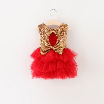 """The """"Gigi"""" Shimmer Gold Sequin Bow Baby Toddler Dress - Red"""
