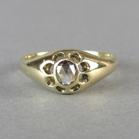 VICTORIAN antique rose cut diamond solitaire engagement ring, unique solid gold wedding ring.