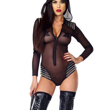 Discipline Studded Mesh Bodysuit By Forplay Fetish
