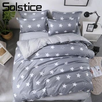 Solstice Home Textile Star Stripe Gray Duvet Cover Pillowcase Sheet Kid Teen Bedding Set Boy Girl Bed Linens Single Queen Double