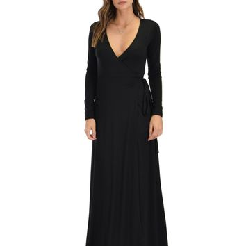 Lyss Loo Celestial Long Sleeve Black Wrap Maxi Dress