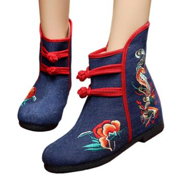 Fashion Online Vintage Beijing Cloth Shoes Embroidered Boots 12-01  Blue 35