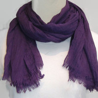 Purple Scarf, Plain scarf, women's scarf, gift idea for her, purple crinkle scarf