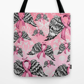 Breast cancer awareness winged ribbons pattern.  Tote Bag by Kristy Patterson Design