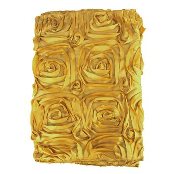Satin Rosette Table Runner with Serged Edge, Gold, 14-Inch x 108-Inch