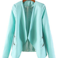'The Adeline' Blue Double Zipper Long Sleeve Blazer