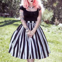 Vintage Goth Pinup Capsule Collection- Jenny Gathered Full Skirt in Black and White Stripe