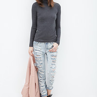 FOREVER 21 Ribbed Knit Turtleneck Charcoal