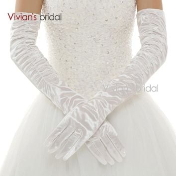 Bridal Elegant Three Colors Finger Elbow Length Cotton Bridal Wedding Gloves