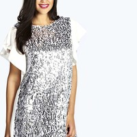 Kat Droplet Sequin Frill Swing Dress