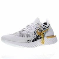 "Nike Epic React Flyknit iD ""White Black Gold"" Running Shoes AQ0067-071"