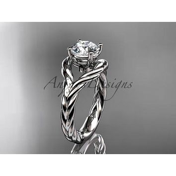 14k white gold twisted rope engagement ring RP8125