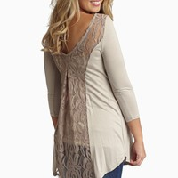 Taupe-Lace-Back-3/4-Sleeve-Maternity-Top