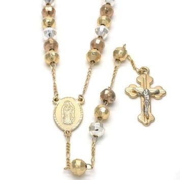Gold Plated 09.08.0001.3.30 Medium Rosary, Guadalupe and Crucifix Design, Polished Finish, Tri Tone