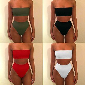 2017 Solid Sexy High Waist Bikini Bandeau Women Swimwear Biquinis Feminino Swimsuit Swim Suit Bathing Beach Wear Maillot De Bain