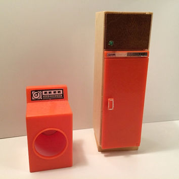 Vintage Lundby Dollhouse Refrigerator Clothes Dryer MOVES Orange Kitchen Appliances Mini Miniature Wooden Shelves Realistic Plastic 1970s