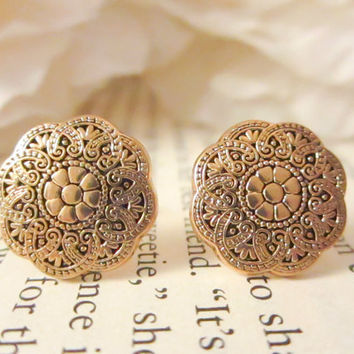 Bridesmaid Earrings,Vintage gold flower earrings ,Vintage Button Earrings, Vintage earrings, gold floral studs, under 15, spring jewelry