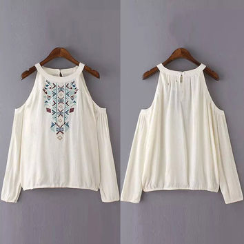 National Wind Cut-out Shoulder Blouse