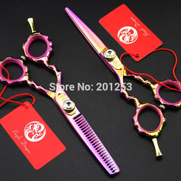 JP440C 5.5Inch Left Hand Cutting Scissors and Thinning Scissors Set Colorful Hair Shears Bamboo Handle for Barbers,1Set LZS0602
