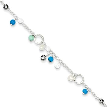 Sterling Silver 6mm Turquoise/Clear Bead/Fresh Water Cultured Pearl Anklet Bracelet