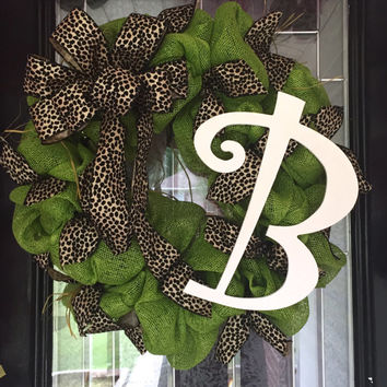 Monogram Wreath, Monogram Door Hanger, Custom Wreath, Deco Mesh Wreath, Everyday Wreath