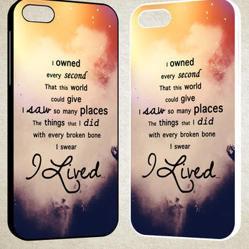 I lived onerepublic quotes F0497 iPhone 4S 5S 5C 6 6Plus, iPod 4 5, LG G2 G3, Sony Z2 Case