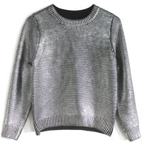 Metallic Cropped Knit Sweater