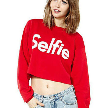 Red Selfie Graphic Print Long Sleeve Cropped Sweater