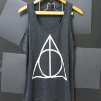 Deathly Hallows Harry Potter tank top BLACK movie Women teen size S,M,L plus size singlet tshirt ladies blouse by Cute classic shop