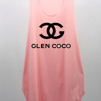 You GO GLEN COCO Pastel Tunic Blouse Dress Loose Hip women handmade silk screen printing