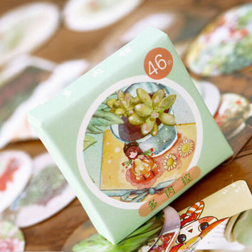 Fresh Japanese Style Succulent Label Stickers Decorative Stationery Stickers Scrapbooking DIY Stickers TA203