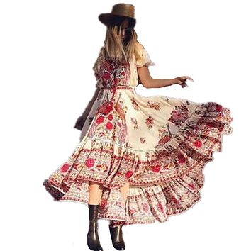 Beach wear 2017 Women Summer Vintage Boho Long Maxi Floral National Chiffon Dress Party Beach Dress Floral Sundress robe sexy