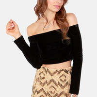 Mink Pink Seeing the Ex Black Velvet Crop Top