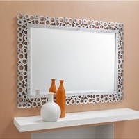 Amalifi Rectangular Mirror Silver | Silver Carved Mirror | French Shabby Chic Mirror | French Furniture