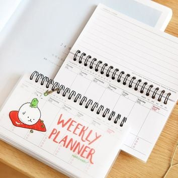 Sushi weekly planner Mini spiral notebook Agenda for week plan schedule Cute Stationery office accessories School supplies 6501