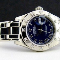Rolex Lady Datejust Pearlmaster White Gold Blue Roman Diamond 80319 WATCH CHEST