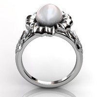 14k white gold South Sea pearl diamond unusual unique floral engagement ring, bridal ring, wedding ring ER-1045-1