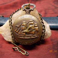 Old Ironsides USS Constitution Ship Pocket or Locket Watch - Wood Gift Box Included - Worldwide Shipping