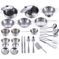 Girls Toys 25pc Stainless Steel Kitchen Ware Play Set