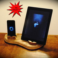 "The ""Dual Dock"" Dark Walnut wooden docking stand for iPhone, iPad, iPod and other tablets and smartphones"